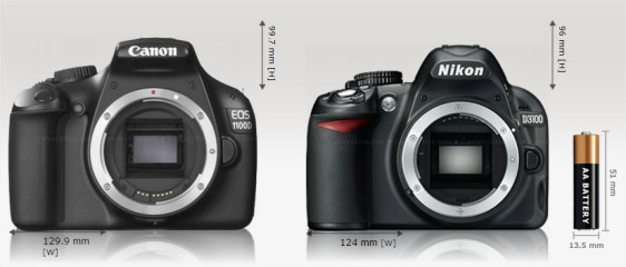 Nikon D3100 vs Canon EOS Rebel T3 Camera Size Comparison - Google Chrome