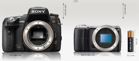 Sony Alpha A580 vs Sony NEX-C3 Camera Size Comparison - Google Chrome
